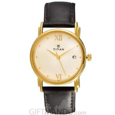 Titan KARISHMA Champagne-Golden Dial Analog Watch for Men (1445YL02)