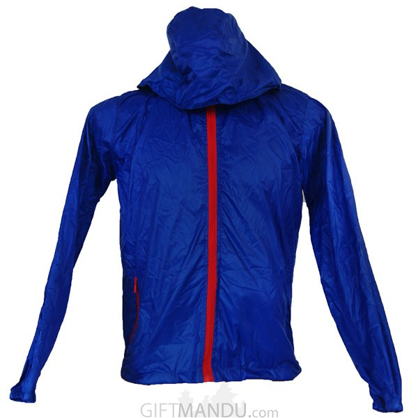 Blue Full Sleeves Polyester Windcheater (XL)