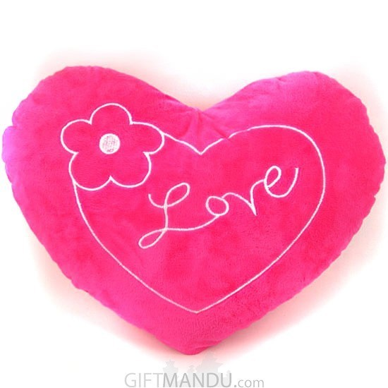 Pink Love Valentine Heart Pillow With A Flower