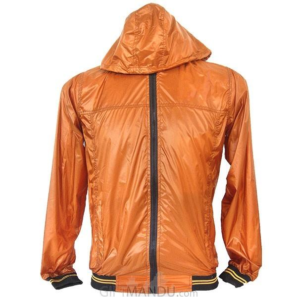 Orange Full Sleeves Polyester Windcheater (XL)