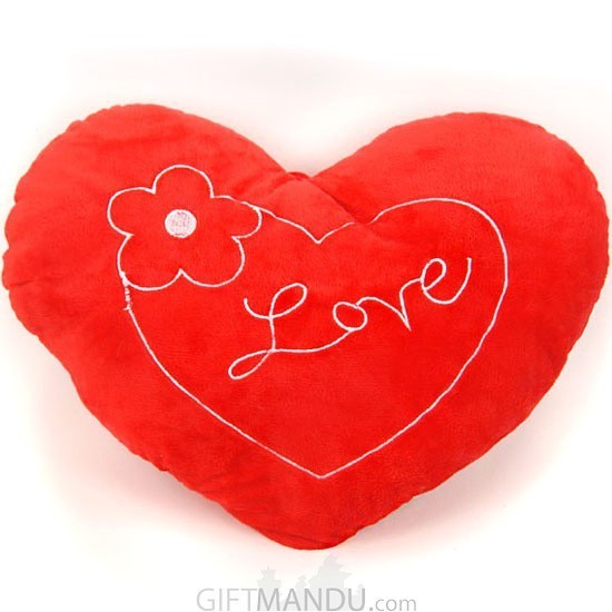 Red Love Valentine Heart Pillow With A Flower