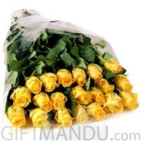20 Long Stem Yellow Roses Bouquet
