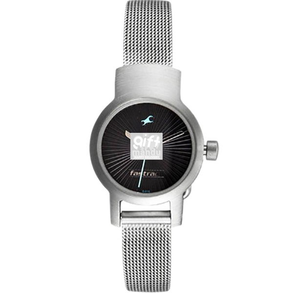 Fastrack Stainless Steel Case Black Dial Analog Watch for Women (2298SM03)