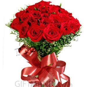 Two Dozen Long Stemmed Valentine Red Roses - HID