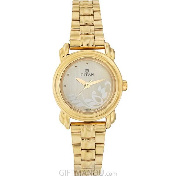 Titan Brass Case Champagne Dial Analog Watch for Women (2534YM01)