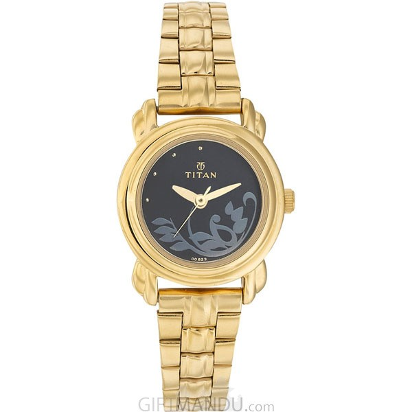 Titan Brass Case Black Dial Analog Watch for Women (2534YM02)