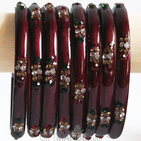 Maroon Color Glass Bangles 4 pcs Set (Size 2-4)