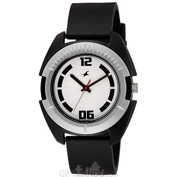 Fastrack Plastic Case White Dial Analog Watch for Men (3116PP02)