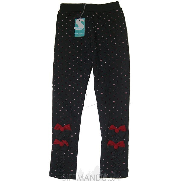 Cotton Leggings for Kids (Black with Pink Dotted)