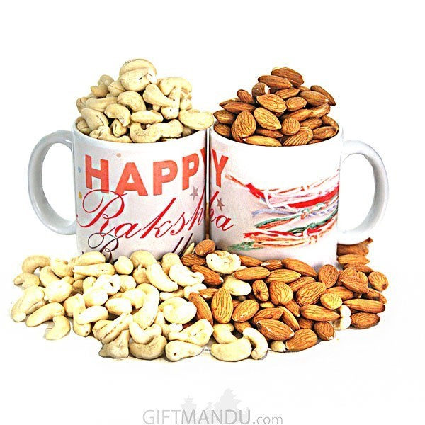 Printed Mug & Dry Nuts Rakhi Gift