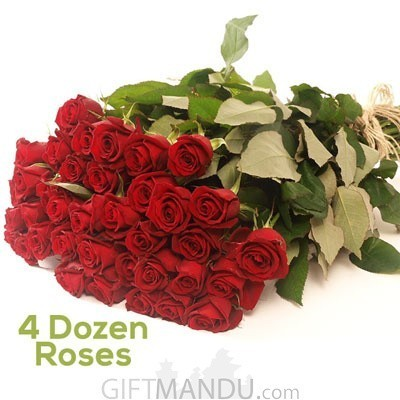4 Dozen Long Fresh Red Roses