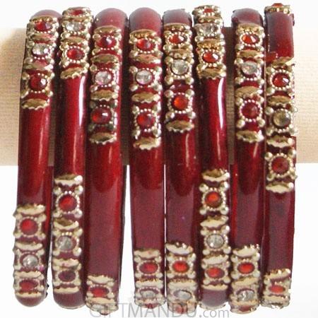 Dark Red Color Glass Bangles 4 pcs Set (Size 2-6)
