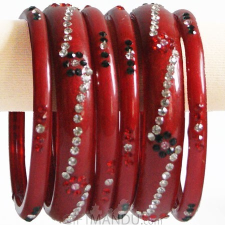 Red Color Glass Bangles 3 pcs Set (Size 2-4)