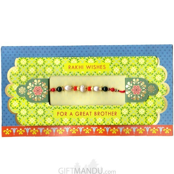 Rakhi Wishes For A Great Brother Greeting Card - (Rakhi Thread Included) (RC-6006)