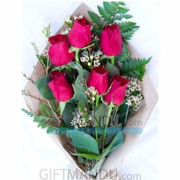 Half Dozen Red Roses Bouquet