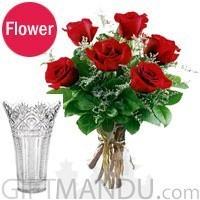 6 Romantic Fresh Red Roses Vase