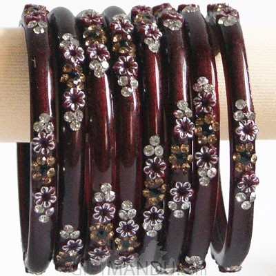 Rosewood Red Color Glass Bangles 4 pcs Set (Size 2-4)