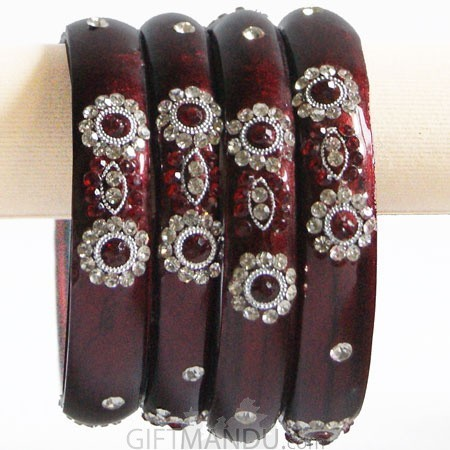 Maroon Red Color Glass Bangles 2 pcs Set (Size 2-6)