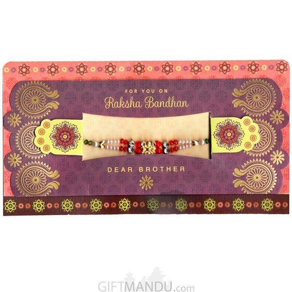 For You On Raksha Bandan Dear Brother Greeting Card - (Rakhi Thread Included)