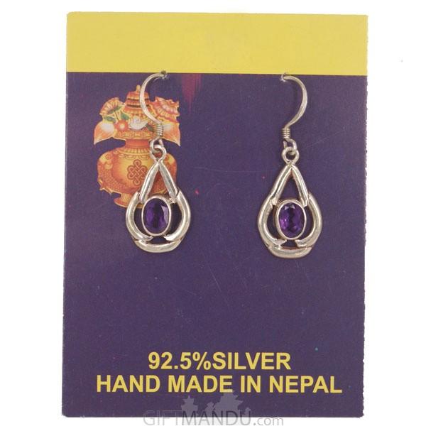 Silver Earring (Purple Stone)