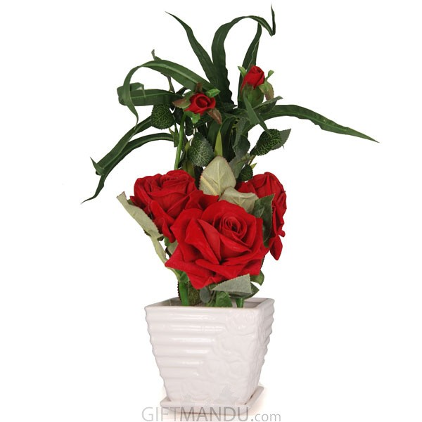Artificial Red Rose In White Ceramic Pot - HID