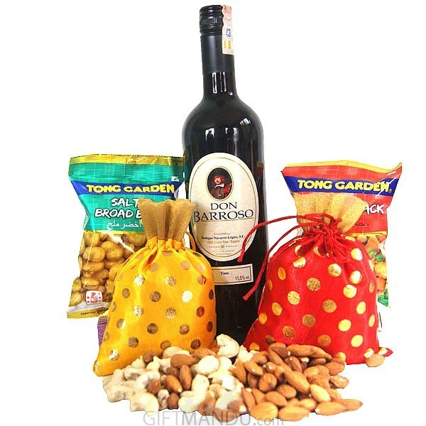Staff Pick Imported Sweet Red Wine, Dry Nuts Bags & Snacks (5 Items)