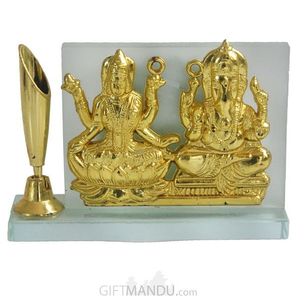 Crystal Frame of Glden Plated Laxmi Ganesh with Pen Holder