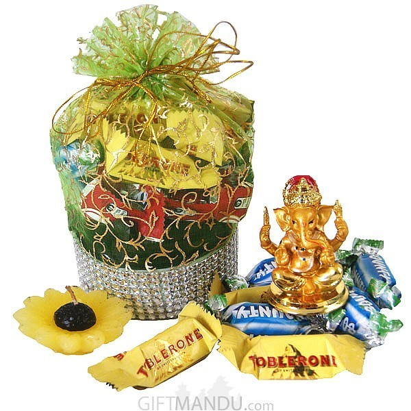 Beautiful Bag Full Of Chocolates With Lord Ganesh Ji