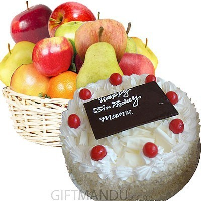 Fresh Fruit Basket and Five-Star Cake