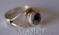 Silver Ring With Blue Moon Stone (SJ-1077)