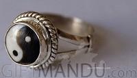 Ying Yang Sterling Silver Ring (SJ-1107)