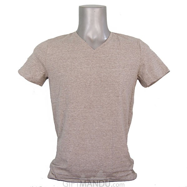 Light Ash Gray Casual Cotton Tshirt (V-Neck)