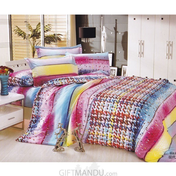 Bed Sheet with Two Pillow Cover Set (Poly Viscose) - Weave Design