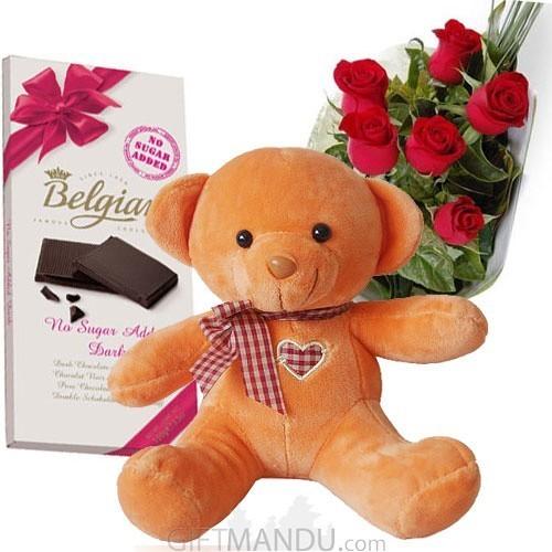 Belgian Chocolate Bar, Cute Teddy Bear and Roses - Belgian
