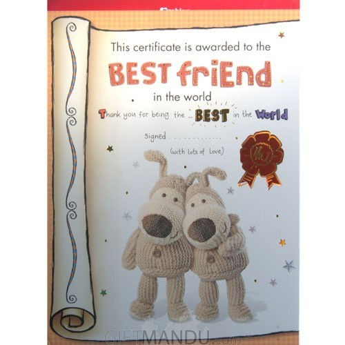 Best Friend Certificate- Archies Big Size Greeting Card
