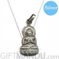 Designer's Silver Necklace Rounded 18 inches with Buddha Pendant