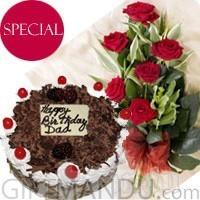 Five-Star Hotel Cake & Half Dozen Roses