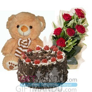 Cake, Teddy Bear and Flower