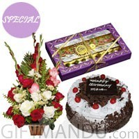 Five Star Black Forest Cake (1 lb), 1/2kg Mithai Box and Flower Basket