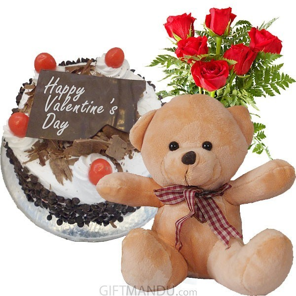 Five Star Cake, Cute Lovely Teddy Bear and Roses