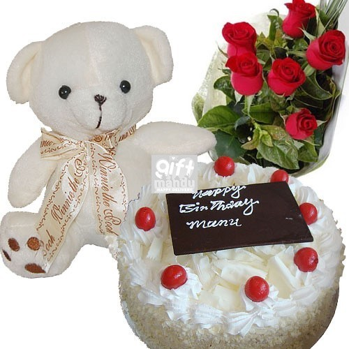 Five Star Cake, Baby Teddy Bear and Flower Bouquet