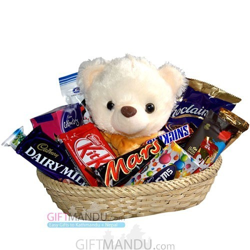 Chocolate Buried Teddy Basket