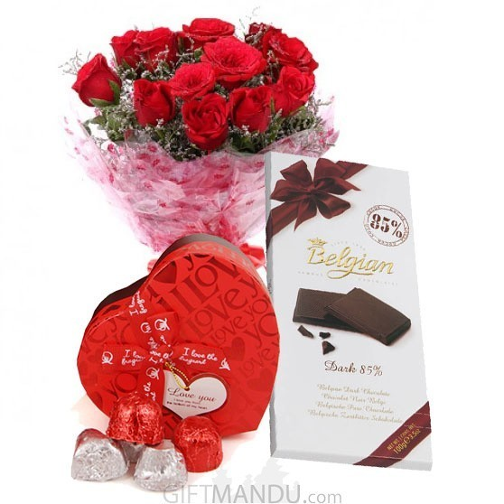 12 Red Roses, Gourmet Love Chocolates Box and Belgian Dark Bar