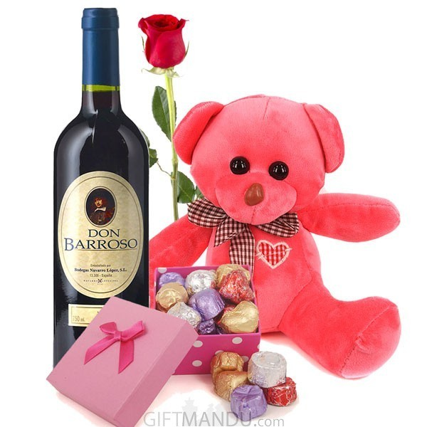 Gourmet Chocolates, Sweet Red Wine, Pink Teddy with FREE 2 Roses