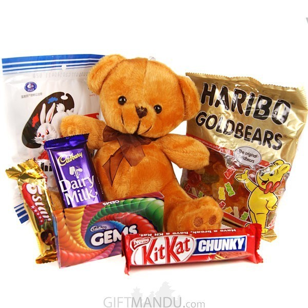Baby Brown Teddy Bear with Chocolates (7 Items)