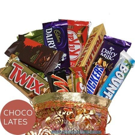 Dozen Chocolates in Beautiful Pouch Bag (12 Chocolates)