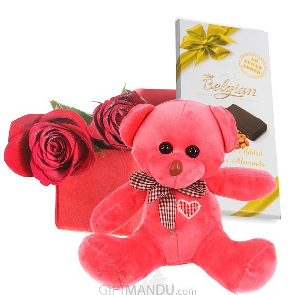 Cute Teddy Bear with Red Roses Box and Chocolate Bar