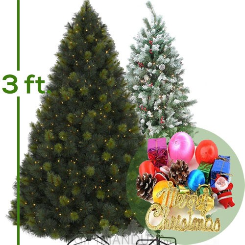 Christmas Tree - Artificial Pine Tree With Decoration (Attractive Good Quality) - 3 Feet Tall