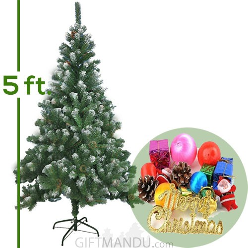Artificial Snow Christmas Pine Tree 5ft Tall With Decoration