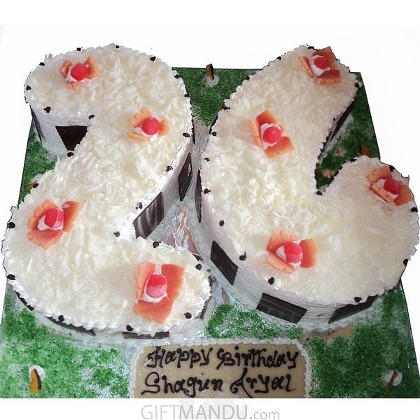 Double Digit Number Shape White Forest Cake (Choose Numbers)